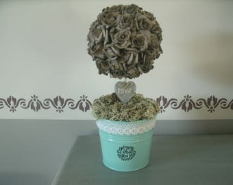 grey Topiary tree in green zinc pot