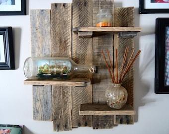 Reclaimed Pallet Wood Shelf Wall Art Rustic Decor