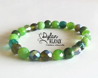 Mix of green faceted Beads Bracelet