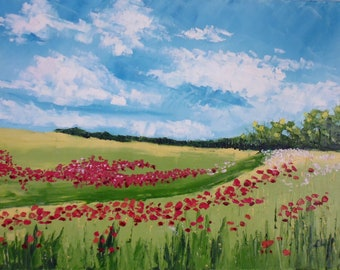 Poppies oil painting spatula