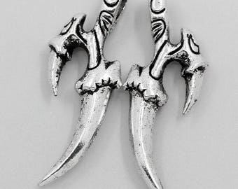 Dagger charm/pendant setting in Silver (x 2)