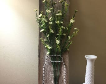 Wood Art, Reclaimed Art, Mason Jar, Home Decor, Country,Flowers, Southern Shabby Chic