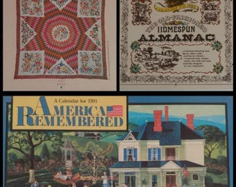 Vintage Calendars 1987 Avon Quilts | 1985 Am. Greetings Almanac | 1991 Bob Pettes Folk Art