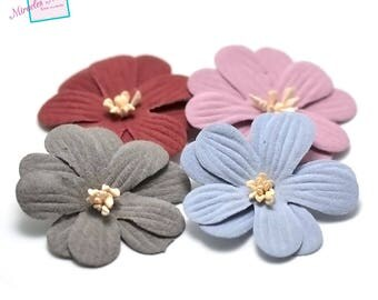 4 flowers in faux leather (suede) 45 X 10 mm, assorted color