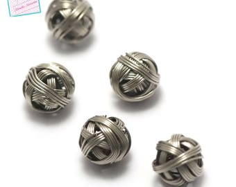 "10 ""ball"" 12 mm round beads, steel"