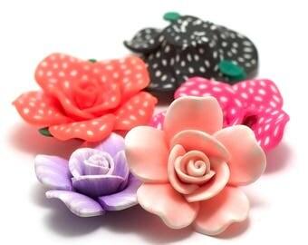 "6 cabochons ""Polynesian flower"", 44 x 16 x 23 mm assortment of colors N ° 1"