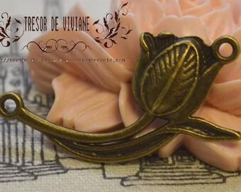Set of 6 QZW069, bronze pendant, tulips, hand jewelry charms