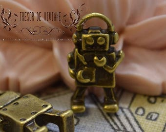 set of 10 charms, Robot QKA001, bronze