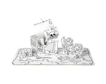 Set pirate en carton à construire et à colorier / Kit créatif DIY pour enfant / Coloriage anniversaire enfant