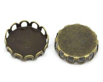 10 round Cabochon 12mm antique bronze cabochon pendant holder