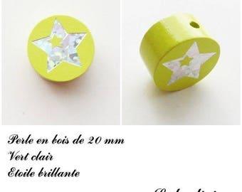 Wooden bead of 20 mm, flat bead light green: Star Silver