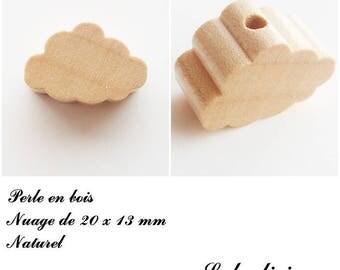 20 x 13 mm wood bead, Pearl flat cloud: natural
