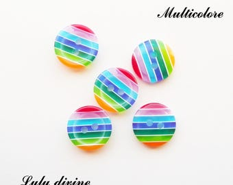 Set of 5 buttons round 12 mm 2-hole: multicolored stripes