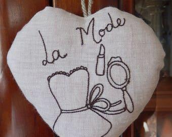 """Heart pink linen """"love"""""""