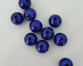 10 blue magic beads 12 mm