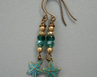 Starfish drop earrings, green  and gold earrings,sea earrings,nautical earrings