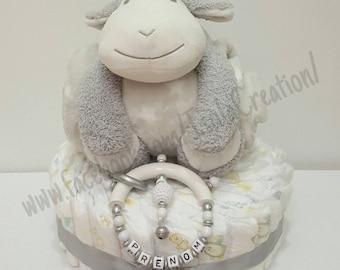 Too adorable white silver gray diaper cake