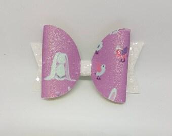 Bunny hair bow, rabbit hair bow, Easter hair bow, glitter hair bow, bow clip, spring hair bow, purple hair bow, rabbit bow clip, cute bow