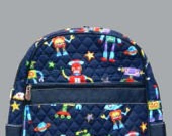 Quilted Backpack w/ Robot print red blue.  Personalized with name, monogram, etc.