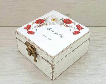 Floral wedding ring box, Rustic wedding box, Ring bearer box, Wedding box, Ring box, Personalized wedding box, Engagement ring holder