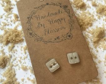 Pretty Caramel Square Button Earrings