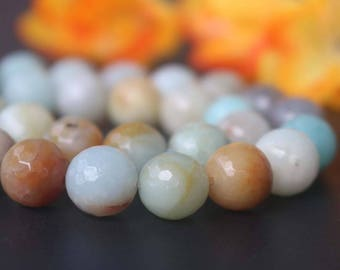 "Natural AA Genuine Amazonite Faceted Beads,4mm 6mm 8mm 10mm 12mm 128 Faceted Amazonite Beads,Amazonite beads supply.15"" strand"