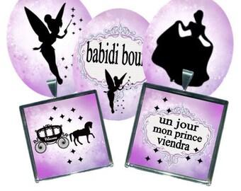 Envoi gratuit ! Images digitales CENDRILLON, ovales et carrés, carrosse chaussure fée prince