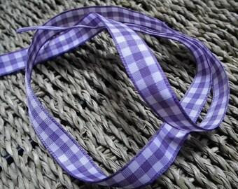 ♥1M 10mm♥ purple Plaid Ribbon