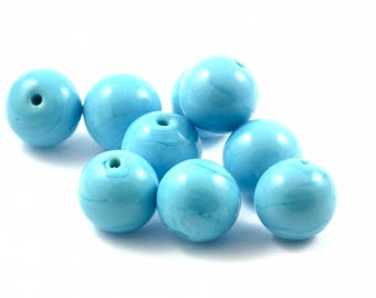 ♥X2 12mm♥ blue glass bead