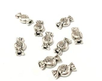 X 50 beads metal silver sweet 11mm ❤ ❤