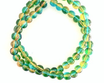 ♥ X 68 PCS WIRE BEAD 6MM BICOLOR GREEN ♥