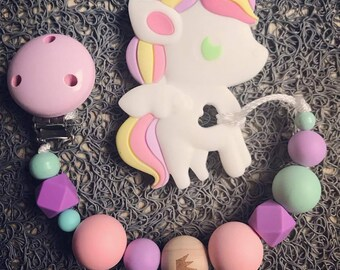 """""""Unicorn"""" dentiton ring rattle silicone and natural wood"""