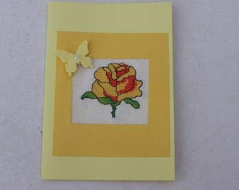 greeting card embroidered any occasion with a yellow envelope
