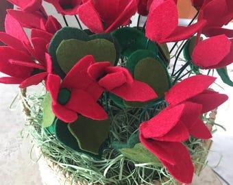 Cyclamen flower arrangement made of felt