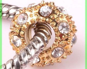 Pearl European N95 rhinestone spacer for bracelet charms