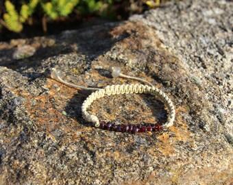 Garnet chips braided bracelet