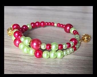 Shaped glass beads memory bracelet