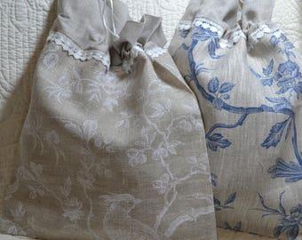 White lace linen pouch