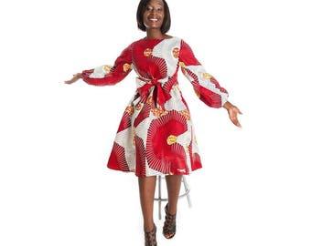 Ankara dress, African dress, Ankara red dress, ankara long sleeved dress, African print dress, red African print dress