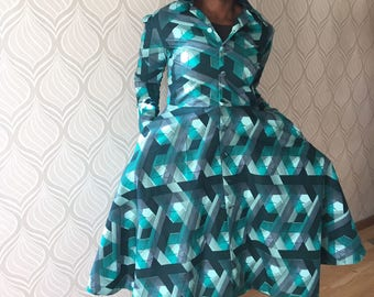 African clothing, ankara dress coat, African dress, African winter dress, African fashion