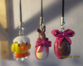 Set of 3 hooks bag special polymer clay Easter chick / Bunny and egg.