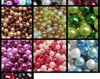 200x 4mm /100x 6mm / 50x 8mm / 50x 10mm Glass Pearl Beads Mixed Colour