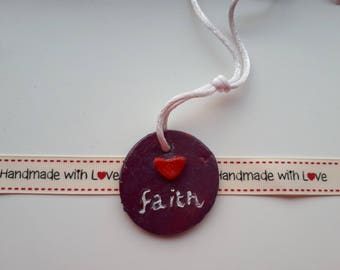 Faith Round Hanger / Key ring / clay gift
