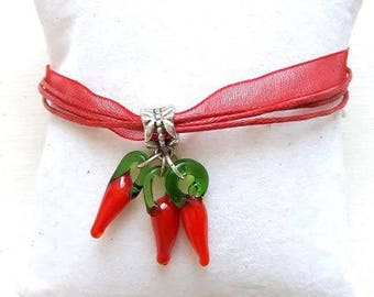 Basque Organza red 3 peppers glass bracelet