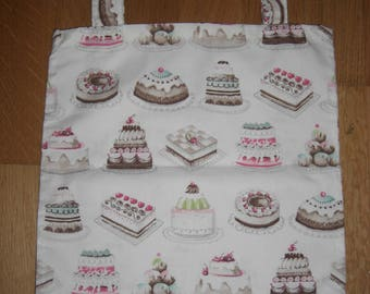 TOTE BAG / purse A snack, pastry pink/brown/beige fabric