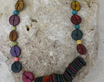 Coconut wood beads necklace