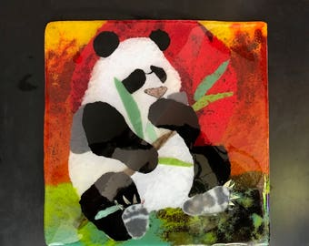 Homemade Fused Glass Painting of a Panda Eating Bamboo