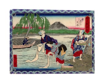 Washerwomen at the river (Utagawa Hiroshige III) N.1 ukiyo-e woodblock print