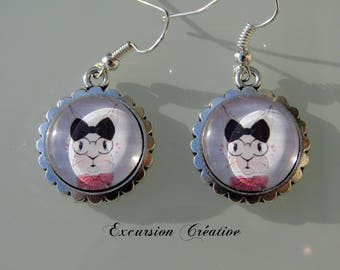 """Elegant rabbit"" earrings cabochon 16 mm inlaid"