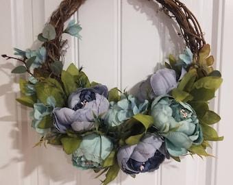 Blue peony grapevine wreath